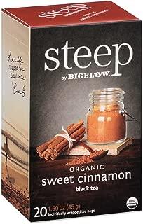 Steep by Bigelow Organic Sweet Cinnamon Black Tea 20 Count Organic Caffeinated Individual Black Tea Bags, for Hot Tea or Iced Tea, Drink Plain or Sweetened with Honey or Sugar