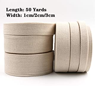 50 Yard Cotton Twill Tape Ribbon Herringbone Tape Twill Tape Ribbon for DIY Crafts Gift Wrapping Home Decoration Sewing (As The Picture, 1cm Width)