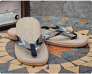 Summer sandals Stylish Beach Flip Flops,Men's Linen Slippers-D_40,Flip Flops - Slip on Slippers flip flop (Color : E, Size : UK7)