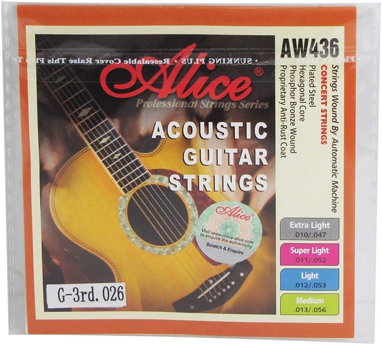 Alice tamaño mediano cadena hexagonal Core 3rd cuerdas para guitarra Folk/guitarra acústica w/Dorado con extremo de bola para concierto