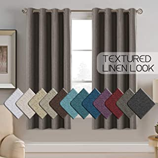 Ultra Thick Room Darkening Linen Curtains 63 Inch Textured Rich Linen Like Curtains/Drapes for Bedroom Small Window, Antique Grommet Faux Linen Curtain Panels, 52 by 63 - Inch - Taupe Gray (1 Panel)