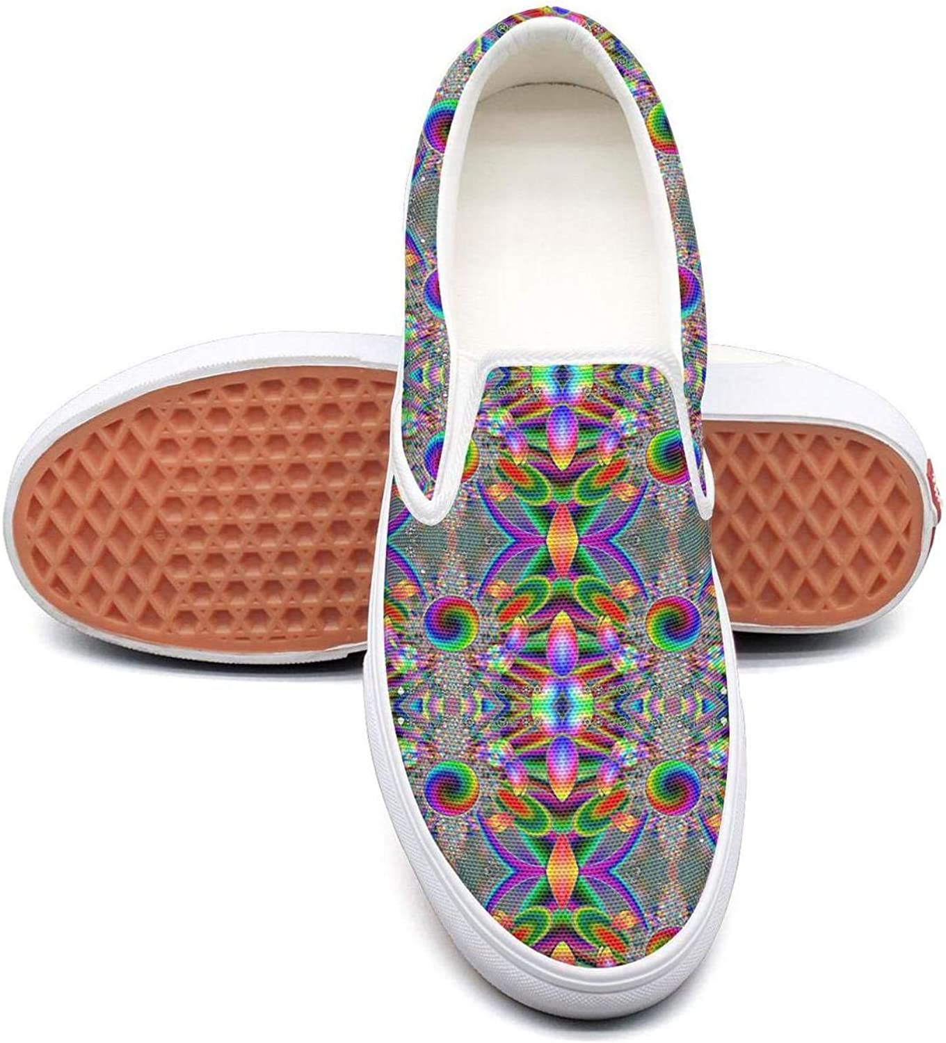 VXCVF Bohemian Flower Psychedelic Segmentation Womens Canvas shoes Loafers shoefor Womens