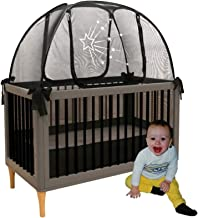 Baby Crib Safety Pop up Tent - Premium Net Cover Crib Tent to Keep Baby from Climbing Out - See Through Black Crib Netting - Nursery Mosquito Net Baby Bed Canopy Netting Cover