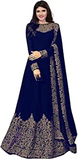 Mordenfab Women Faux Georgette Embroidered Semi Stictehd Salwar Suit(H103_Free Size)