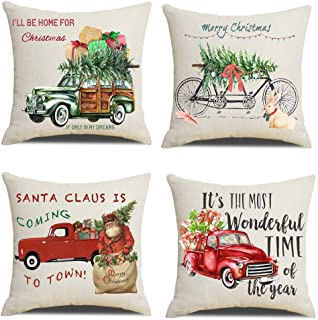 Lanpn Christmas 22x22 Throw Pillow Covers, Decorative Outdoor Farmhouse Merry Christmas Xmas Red Truck Pillow Shams Cases Slipcovers Cover Set of 4 Couch Sofa