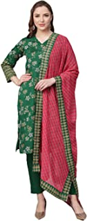 Ahalyaa Women Green & Pink Printed Kurti with Pant & Dupatta