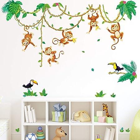 DECOWALL DWL-2013 Singes dans la jungle Autocollants Muraux Mural Stickers Chambre Enfants Garderie Salon wall adhsif maison dcalcomanies