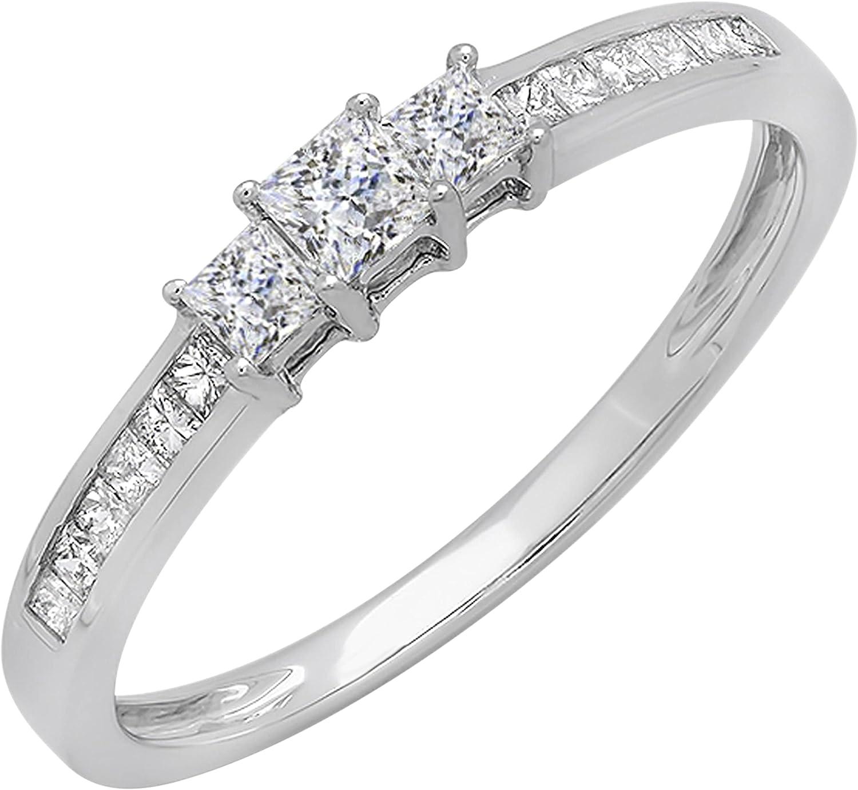 Dazzlingrock Collection Princess Cubic Zirconia Bridal 3 Ston shop CZ New Free Shipping