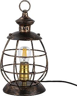 Lampes de table industrielles avec cage métallique 2 en 1 Hurricane Lights Fixture bureau avec prise dans le câble E27 Ant...