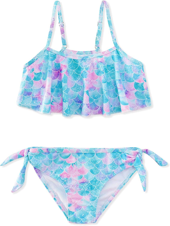 Adolife Girls Swimsuits Ruffle Two Piece Bikini Set Quick Dry Beach Sport Swimwear Bathing Suits 6-12 Years