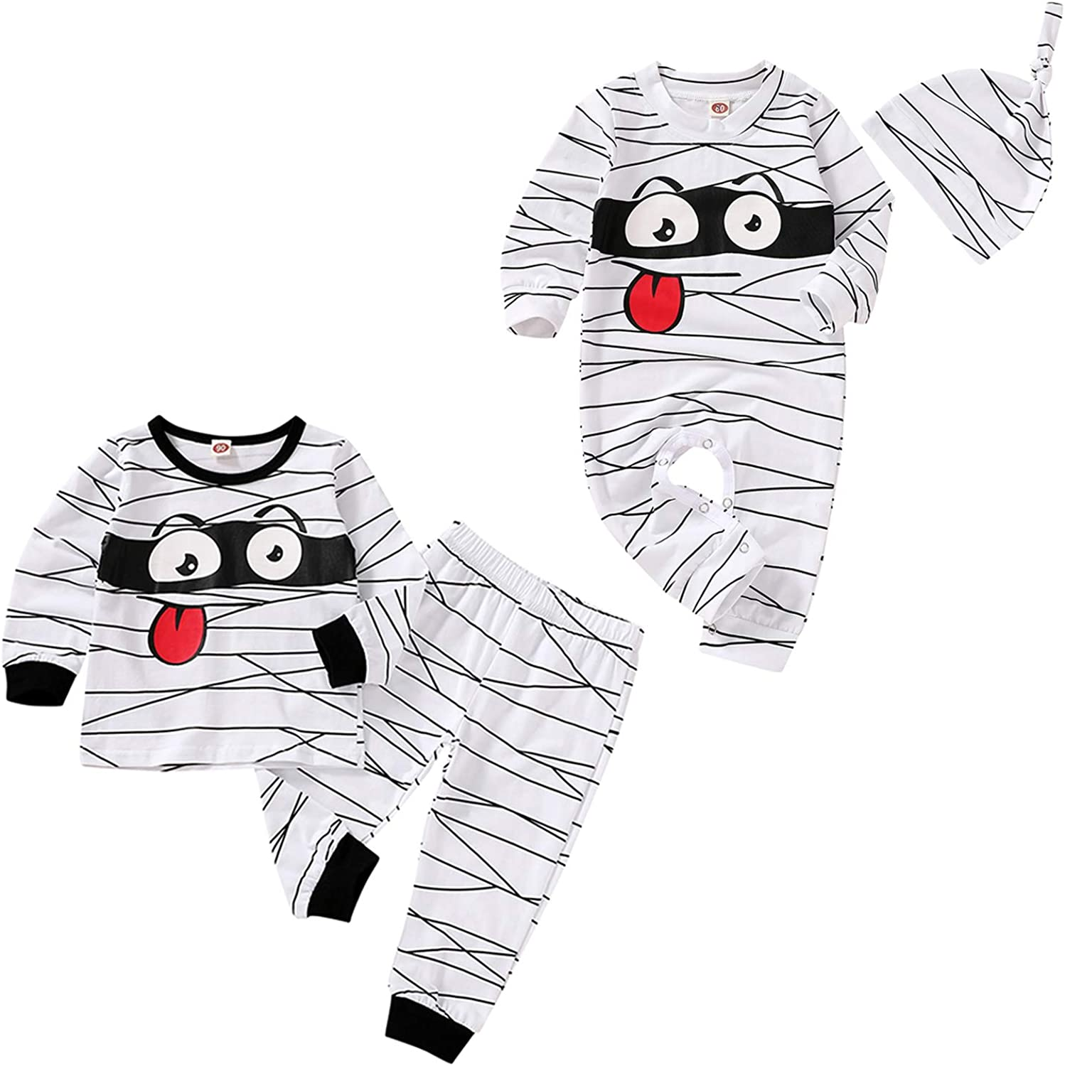 Toddler Baby Boys Halloween Outfit Funny Mummy Romper Bodysuit with Hat Pajamas Clothes Set