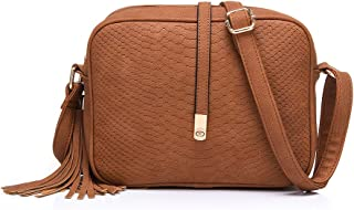 Realer Cross Body for Women Small Shoulder Bags PU Leather Side Purse (Brown)