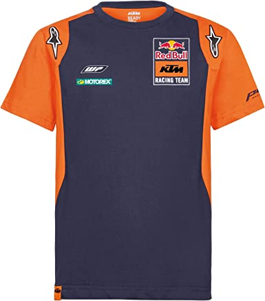 Red Bull KTM Official Teamline Camisa Polo, Azul Hombres Camiseta Manga Corta, KTM Factory Racing Original Ropa & Accesorios