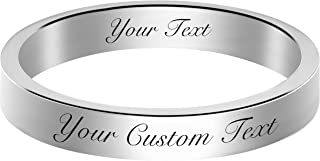 Fanery Sue Personalized Ring for Men Women Custom Engraved Name Promise Ring Wedding Band Valentines Mothers Gift