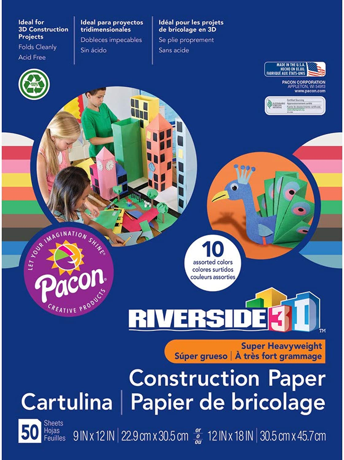 Pacon 103637 Construction Paper 76-lb. Groundwood 9 x 12 Assorted 50 Sheets B00256R5GO | Outlet Store