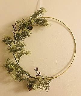 Designs by DH Christmas Holiday Modern Minimalist Scandinavian Metal Hoop Wreath Pine Berry Mistletoe Juniper Holly Simplistic Shabby Chic Rustic