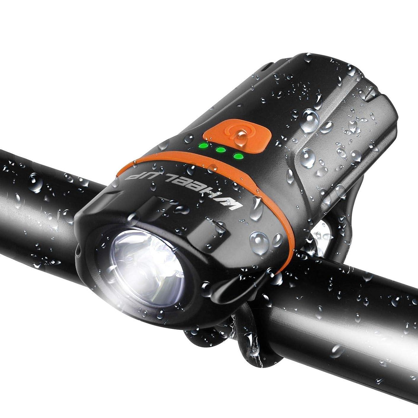 カストディアンぼんやりした酸自転車ヘッドライト USB充電式小型ledライト wheel up超強力ミニ ハンディライト 高輝度6段階点灯モード IP65軍用防水/防振/防災 懐中電灯兼用大容量2500mah スポーツ?アウトドア用SOSフラッシュライト