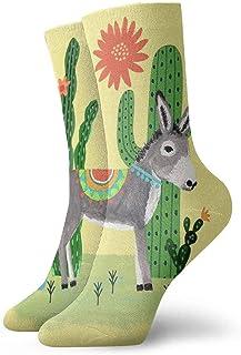 N\A, Calcetines de compresión antideslizantes de burro mexicano con cactus, calcetines deportivos acogedores de 11.8 pulgadas para hombres, mujeres y niños