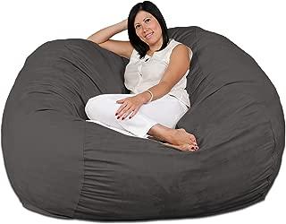 FUGU Large Bean Bag Chair, Premium Foam Filled 5 XL, Protective Liner Plus Removable Machine Wash Grey Cover