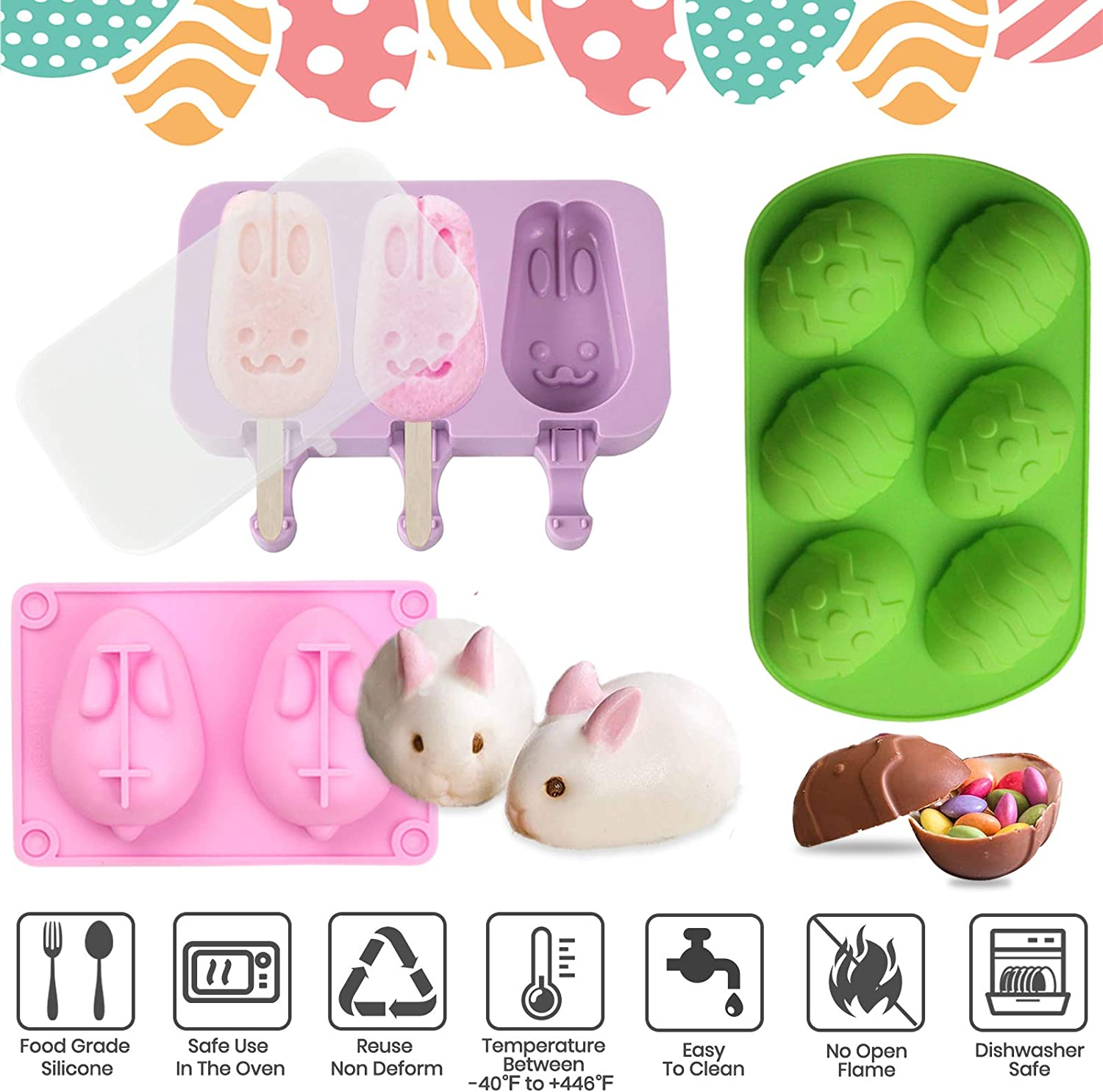 Easter Silicone Molds,Big Bunny Molds,Easter Eggs Silicone Mold,Popsicle Silicone Molds with 50 Wooden Sticks,2 Mini Wooden Hammer,5 Cake Brushes for DIY Chocolate Bomb,Candy A