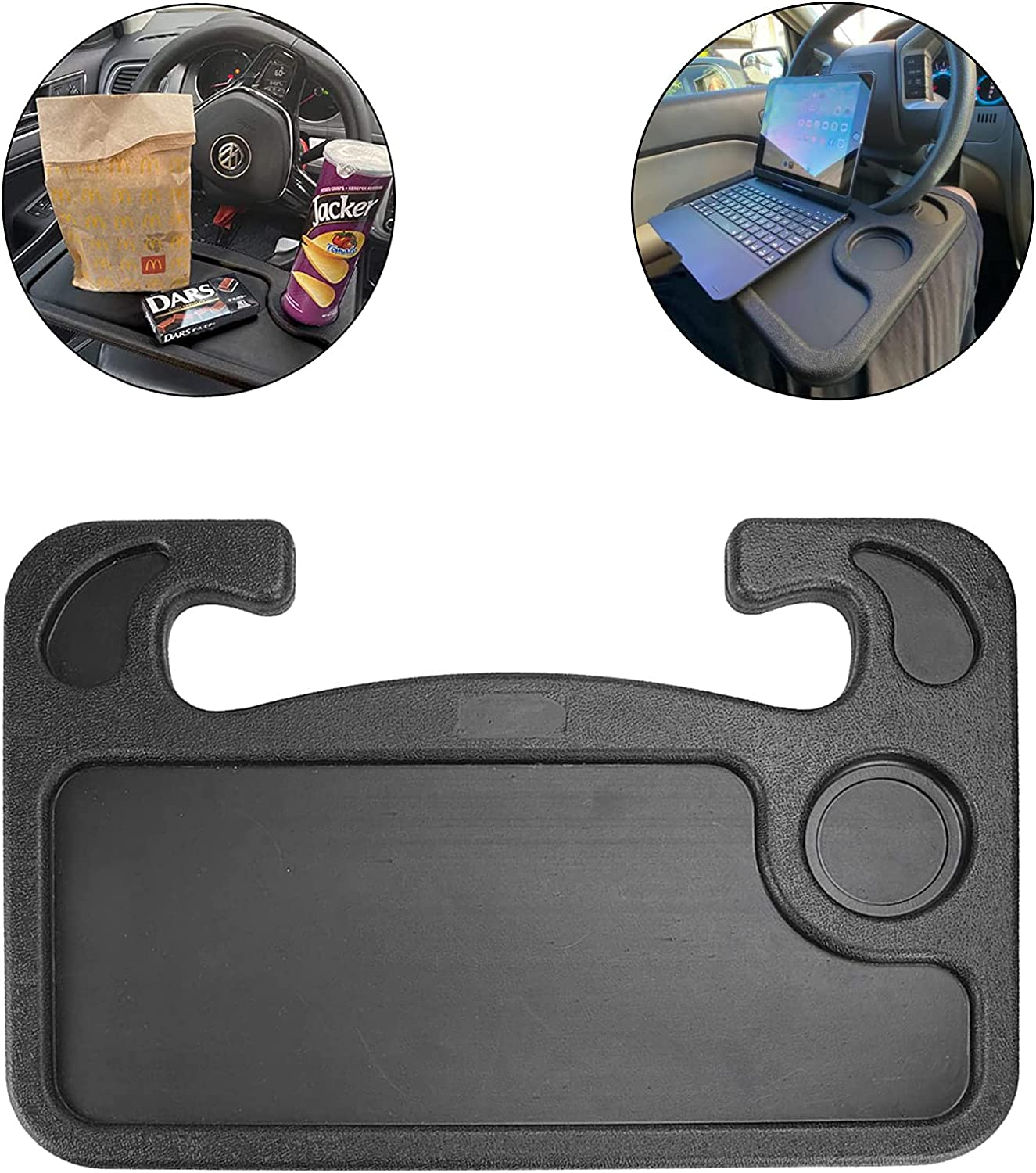 JUSTTOP Car Steering Wheel Desk, Travel Car Accessories, Car Stand Trays for Eating, Multipurpose Car Steering Wheel Desk Tray Table(Black)