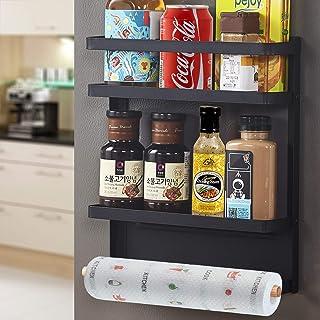 SaiXuan Etagère Réfrigérateur-Supports pour Papier Essuie,Pliable Etagère à épices magnétique de réfrigérateur mural multi...