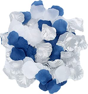 2NDTONONE 900Pcs Royal Blue Silver White Silk Rose Petals Artificial Flower Petals Table Scatter Aisle Runner Wedding Bridal Shower Graduation Bachelorette Celebrate Boy Baby Shower Decoration