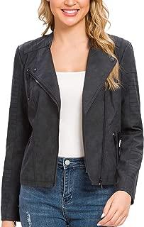 Fahsyee Women's Faux Leather Jacket, Moto Biker Antique-FinishedSlim Vegan Motorcycle Zipper Coat Outwear