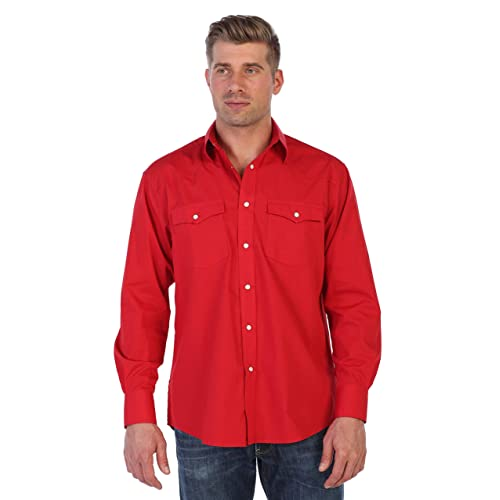 6f24de9852d Gioberti Men's Solid Long Sleeve Western Shirt with Pearl Snap Buttons