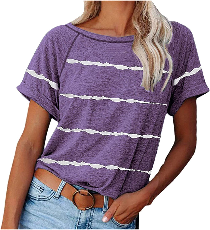 kiolenxah Tshirts for Women Stripe Workout Tops Loose Fit Tshirts Casual Tunic Tops Athletic T-Shirt