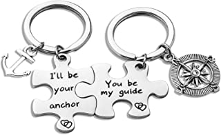 Puzzle Keychain Valentines Day Anchor and Compass Charm Keychains Set I'll Be Your Anchor You Be My Guide
