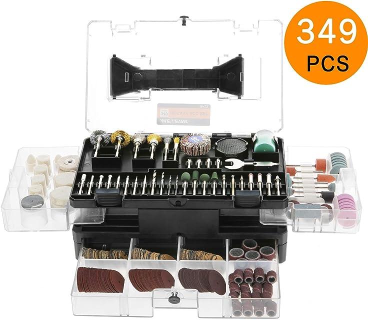 Accesorios de Herramientas Rotativas Meterk 349pcs 1/8 Vástago Eléctrico Grinder Universal Kit de Accesorios con Caja de Almacenamiento para Fácil Corte Afilado Cortar Granding Taladrar y Pulir