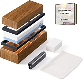 Whetstone Kitchen Knife Sharpening Stone & Non-Slip Antique Customized Box | 1000/6000 Grit Dual Waterstone | 6-in-1 Wet S...