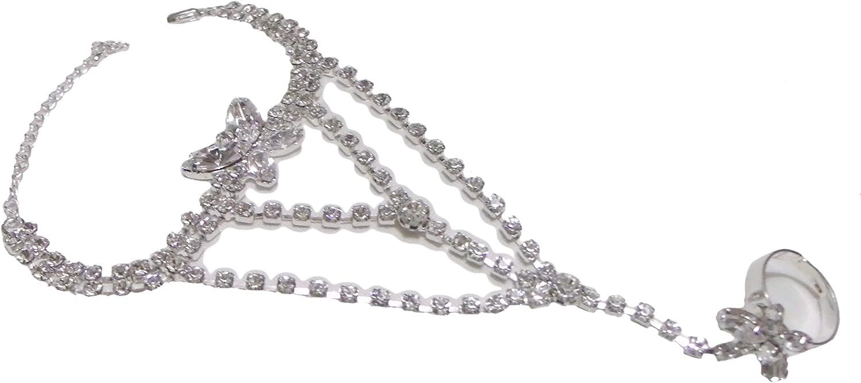 Bracelet Ring Combo~ Butterfly Rhinestone Hand Bargain Sl Chain Crystals Houston Mall
