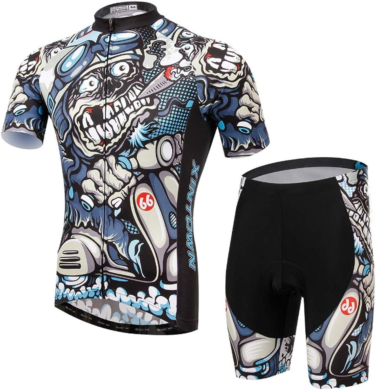 Herren Radtrikots, Kurzarm Bike Shirts Full Zip Fahrradjacke mit 3D-Pad Persnlichkeit Modedruck zum Reiten