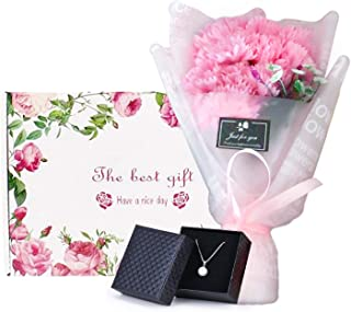 Single Pearl Necklace and Carnation Flower Bouquet Gift for Her, Flower and Jewelry Gift Box, Best Unique Birthday Gifts for Mom Woman Women [Light Pink]