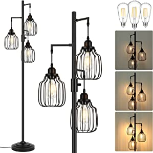 Dimmable Industrial Floor Lamp with 3 LED Edsion Bulbs, Farmhouse Tall Standing Lamp for Living Room, Rustic Black Tree Floor Lamp, Bright Vintage Pole Light with Cage Shades for Bedroom Home Decor