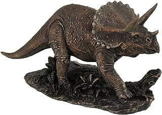 Resin Statues Bronze Finish Triceratops Prehistoric Dinosaur Sculpture 8.5 X 4.5 X 3 Inches Bronze