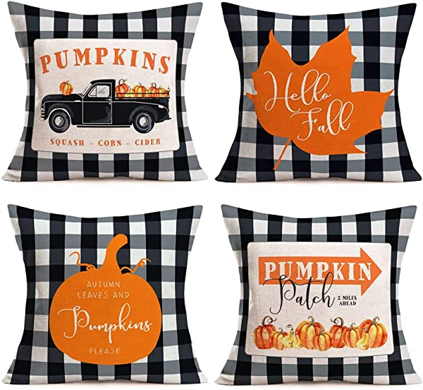 Fukeen 4 Pack Black White Buffalo Check Pillow Cover Vintage Pickup With Orange Pumpkin Maple Leaf Farmhouse Decorative Rustic Throw Pillows Cushion Cover Cotton Linen Outdoor Pillow Cases 18 X18