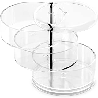 DecorRack Acrylic Makeup Organizer Cosmetic Storage Rotating Clear Compartments Vanity Bathroom Counter Case Display for B...