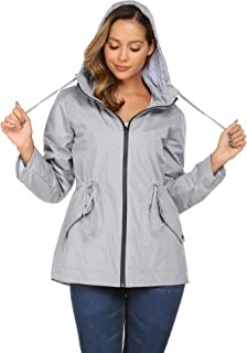ZHENWEI Rain Jacket Women Waterproof with Hood Windbreaker Outdoor Active Hiking Travel