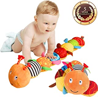 Jcobay Musical Caterpillar Toy Interactive Multicolored Infant Toy Stuffed Cuddly Baby Toy with Ruler Design, Bells and Rattle Educational Toddler Plush Toy for Newborn, Boys, Girls and Over 3 Month