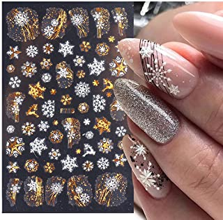 Fall Maple Leaf Nail Art Stickers Decals 8 Sheets Large 3D Embossed Bronzing Nail Art Supplies Nail Art Decoration Gold Wh...