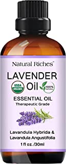 Natural Riches Organic Lavender Essential Oil 30 ml (1 oz), USDA Certified Organic 100% Pure & Natural, Undiluted, Therapeutic Grade, Premium Quality Lavender Oil for Aromatherapy