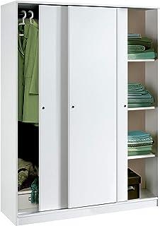 Armario Color Blanco Brillo Grande de 3 Puertas correderas,