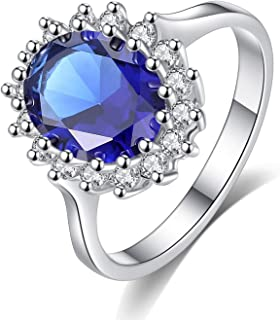 925 Silver Rings Princess Diana William Kate Middleton's Created Blue Ring Charms Engagement 925 Silver Rings for Women Jewelry,8,Red