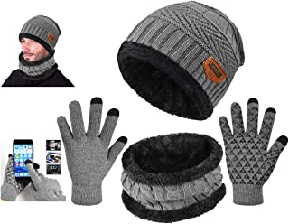 Tuopuda Winter Hat Scarf and Gloves Set Wool Slouchy Beanie Gloves Loop Neck Warmer Scarf for Men Women Fleece Lined Hats Skull Caps Touch Screen Mitten