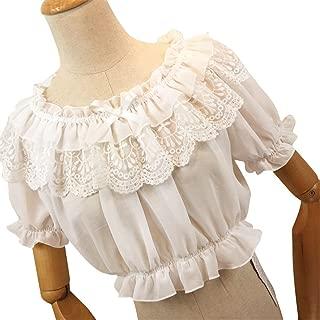 Women Lolita Frilly Chiffon Crop Top Blouse Puff Short Sleeve Lace Bottoming Shirt