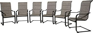 Ulax Furniture Outdoor Metal Spring Chairs Padded Patio Metal C Spring Motion Dining Chairs with High Backrest, Set of 6