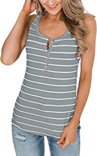 Women's Button Striped Henley Tank Tops